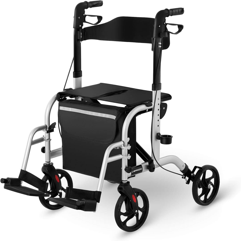 Uniprodo Silla Con Andador Para Adultos Caminador UNI_ROLL_03 2in1 (Carga Máxima 136 kg, Ruedas De TPR, Altura Ajustable Entre 85,5-98 cm, Plateada)