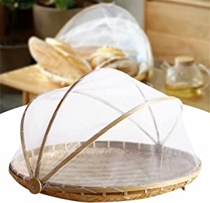 ASkinds 14 inch Covered Round Bamboo Serving Food Tent Basket, Hand-Woven Food Serving Tray for Parties, Picnics, BBQs, Reusable and Collapsible