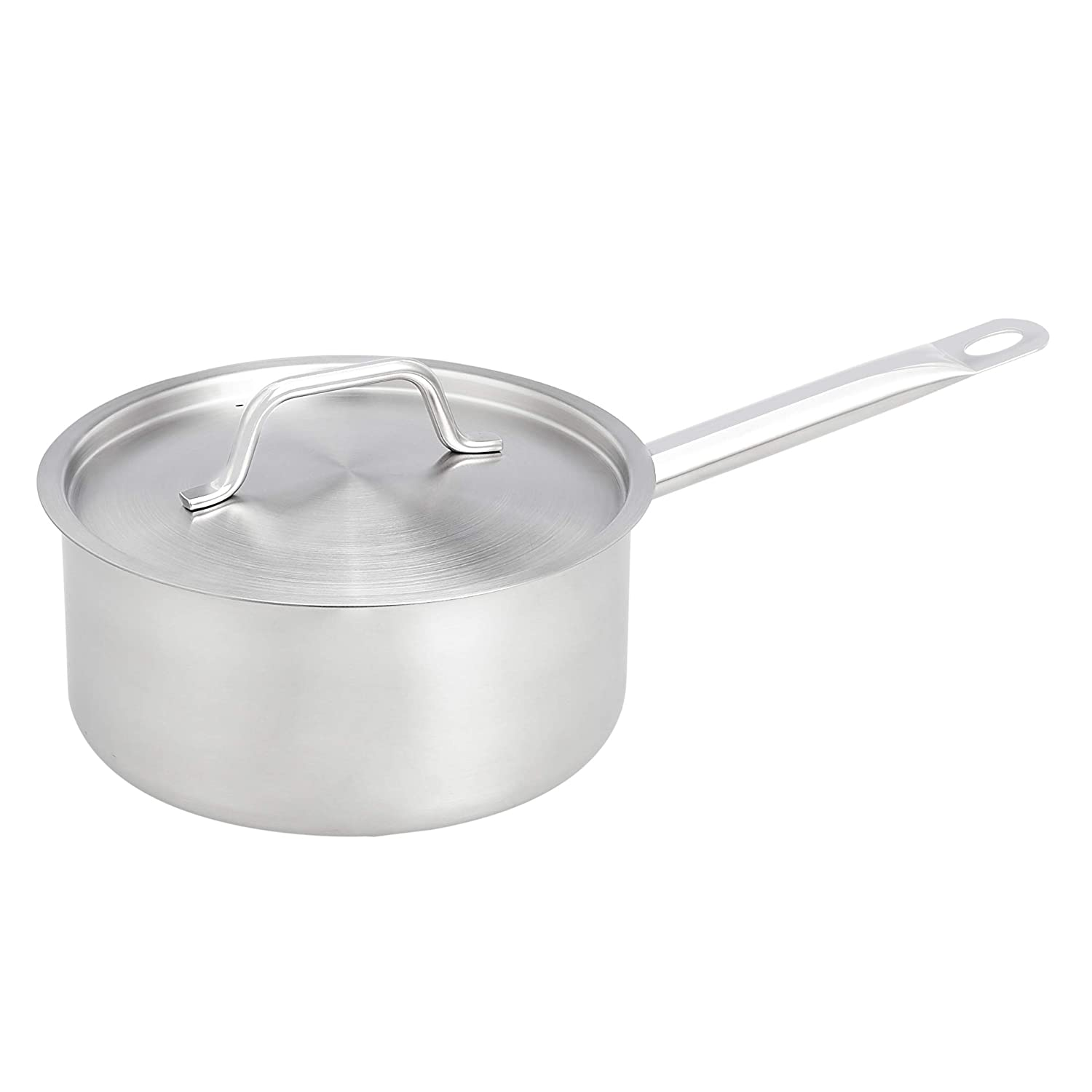AmazonCommercial 3 Qt. Stainless Steel Aluminum-Clad Straight Sided Sauce Pan with Cover