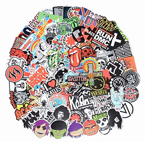 Band Stickers 100 Pcs Rock and Roll Music Stickers, Vinyl Waterproof Stickers for Personalize Laptop, Electronic Organ, Guitar, Piano, Helmet, Skateboard, Luggage Graffiti Decals (Stickers - 1)