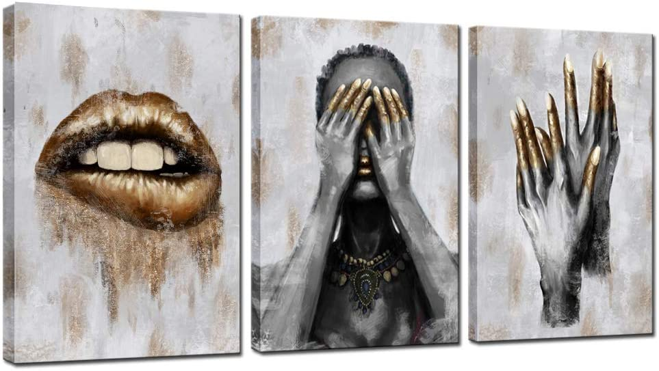 sechars - 3 Panel Wall Art Black Woman with Golden Lip Nails Painting Canvas Prints for Living Room Beauty Salon Decorations Contemporary Grey and Gold Art Stretched Ready to Hang