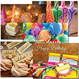 POSTCARDS: Birthday Assortment II, box of 60 postcards, 12 each of 5 different designs