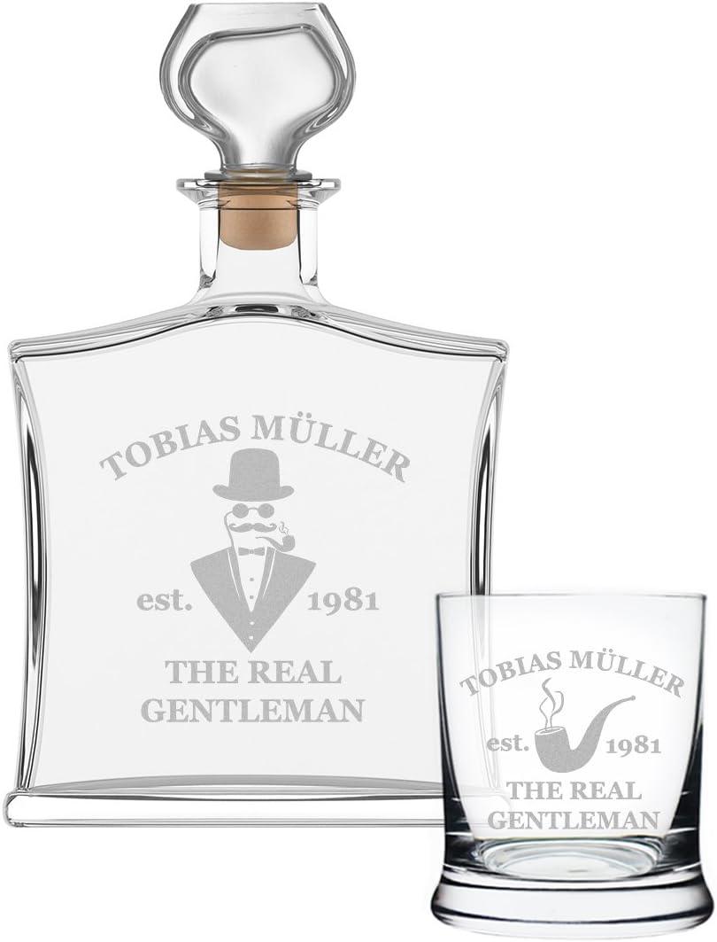 Cadeau pour Homme Cadeau 2 pi/èces avec Bouteille de Whisky et Leonardo Verre de Whisky Motive Gentleman Verre Noble verseuse Contenu: 700ml Personnalis/é avec Gravure