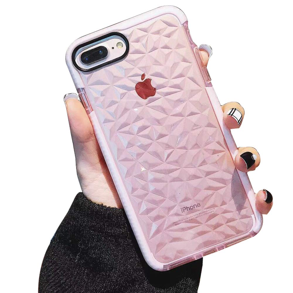 ZFGKONGJ Compatible iPhone 8 Plus/7 Plus/6 Plus/6s Plus Case,Crystal Clear Slim Diamond Pattern Soft TPU Anti-Scratch Shockproof Protective Phone Cover for Women Girls(Pink)