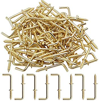 TUOREN 1//2 Inch Brass Plated Metal Screw-in Square Bend Hooks Right-Angle Self-Tapping Screws Hooks L Shape Hooks-150pcs