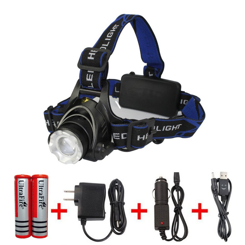 Amerzam Led Headlamp,3 Modes Super Bright LED Rechargeable Headlight with Rechargeable Batteries, Car Charger, Wall Charger and USB Cable for Outdoor Camping Hunting Running Hiking