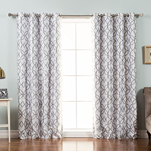 Best Home Fashion Reverse Trellis Print Faux Silk Blackout Curtain - Stainless Steel Nickel Grommet Top - Grey - 52