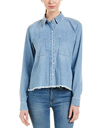 fba868643e Amazon.com  7 For All Mankind Womens Step Hem Denim Shirt in Skyway  Authentic Blue  Clothing