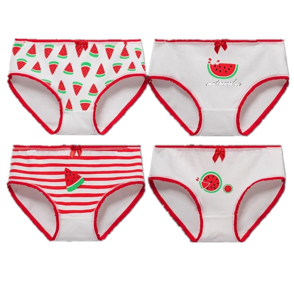 adiasen 4-Packs Girls' Underwear Hipster Knickers Briefs Print Comfort Cotton Watermelon
