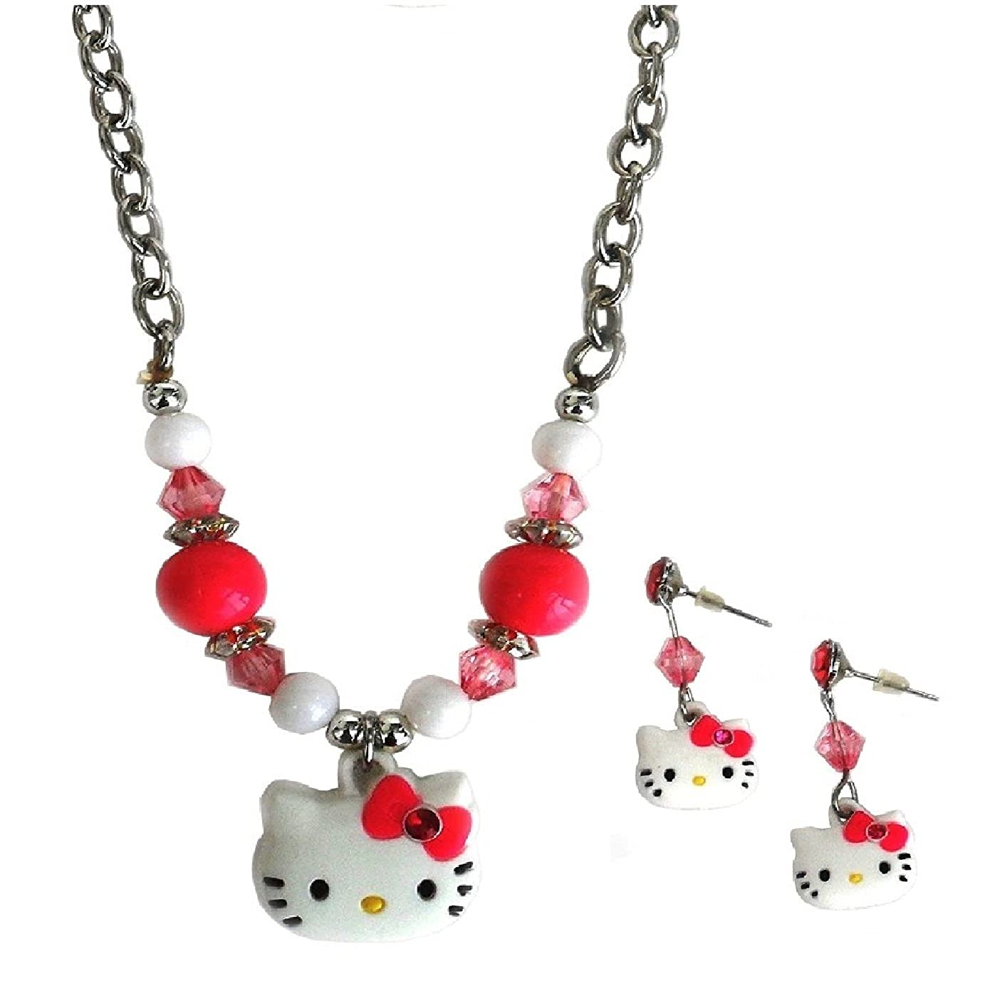 115655a3d Amazon.com: Hello Kitty Necklace & Earrings Fashion Jewelry Set in Gift  Box: Jewelry
