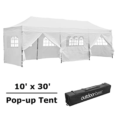 Leisurelife 10x30 Ft Pop Up Canopy Tent with Sidewalls Outdoor, 100% Waterproof, Super Heavy Duty, White : Garden & Outdoor