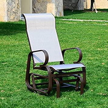 Outsunny Outdoor Mesh Fabric Patio Glider Chair   Brown And Beige