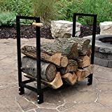Sunnydaze 30 Inch Indoor/Outdoor Black Steel Firewood Log Rack and Cover Combo