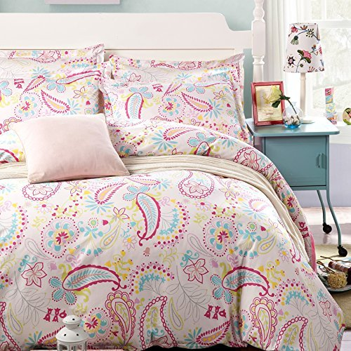 JUWENIN,100% Cotton 250TC Twill fabric Elegant Rural Style Print For Lovely Teen Girls Duvet Cover set 3pcs, (Queen, Pink paisley)