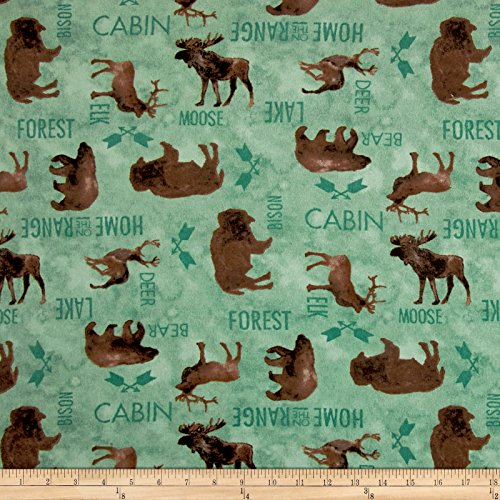 At The Lodge Flannel Animals Allover Teal Fabric By The (Animal Print Flannel)