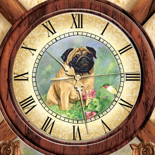 Linda Picken 39 S Playful Pugs Wooden Cuckoo Clock By The