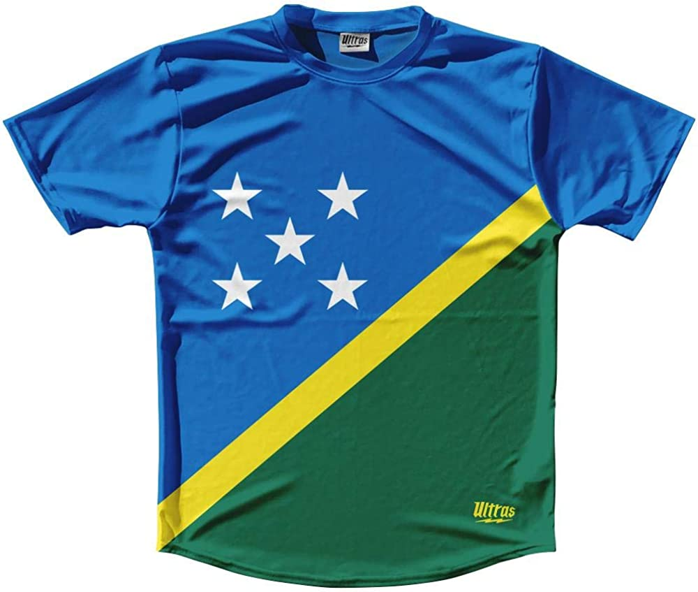 Solomon Islands Country Flag Running Shirt Track Cross Country Performance Top Made in USA