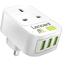 LENCENT USB Outlet Plug Extender with 3 USB Ports, 1 Way USB Charger Plug, Multi Outlet Wall Charger Adapter, Dual USB…