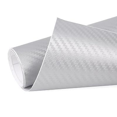 uxcell 3D Carbon Fiber Bubble Free Stretchable Car Vinyl Film 1M x 50cm Silvery Gray: Automotive
