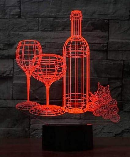 CTO Luz de Noche Copa de Vino Botella Botella 3D Lámpara de ...