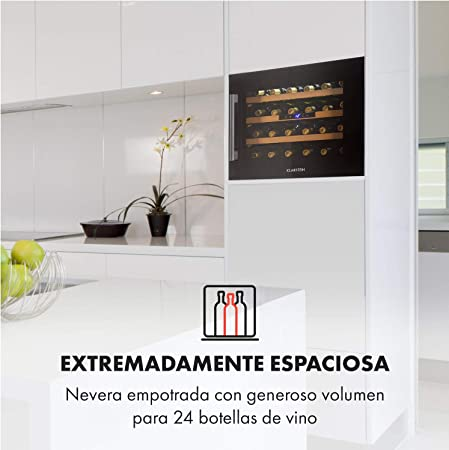 Klarstein Vinsider 24 Onyx Edition - Nevera para vinos con puerta acristalada, Ideal vinos, Para montar, 24 botellas, 5-22 °C, Pantalla LED, 3 bandejas, Iluminación LED, Negro