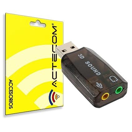 actecom® Tarjeta de Sonido Externa USB 3D Sound 5.1 Audio para PC ...