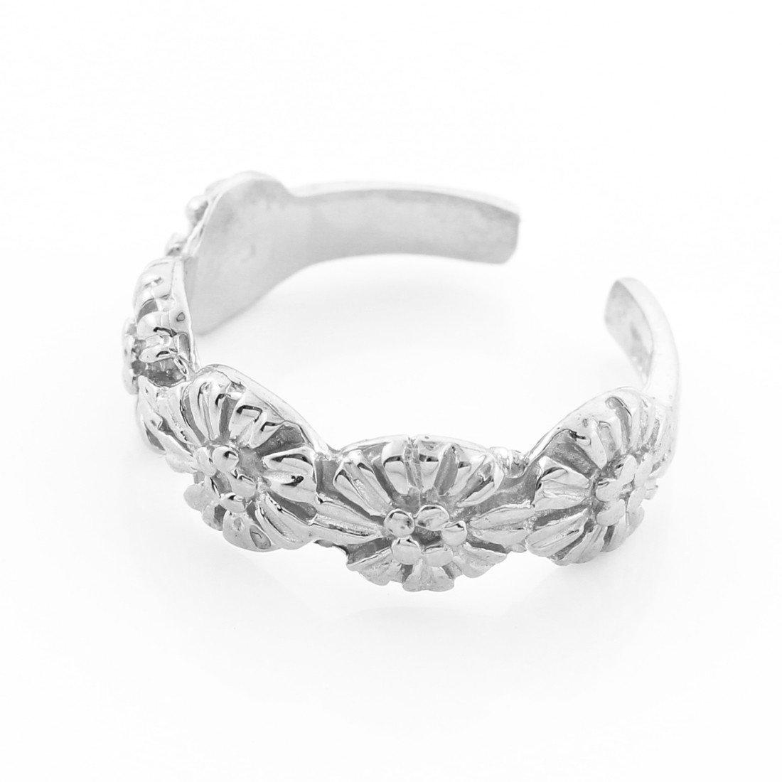 10k White Gold Floral Toe Ring