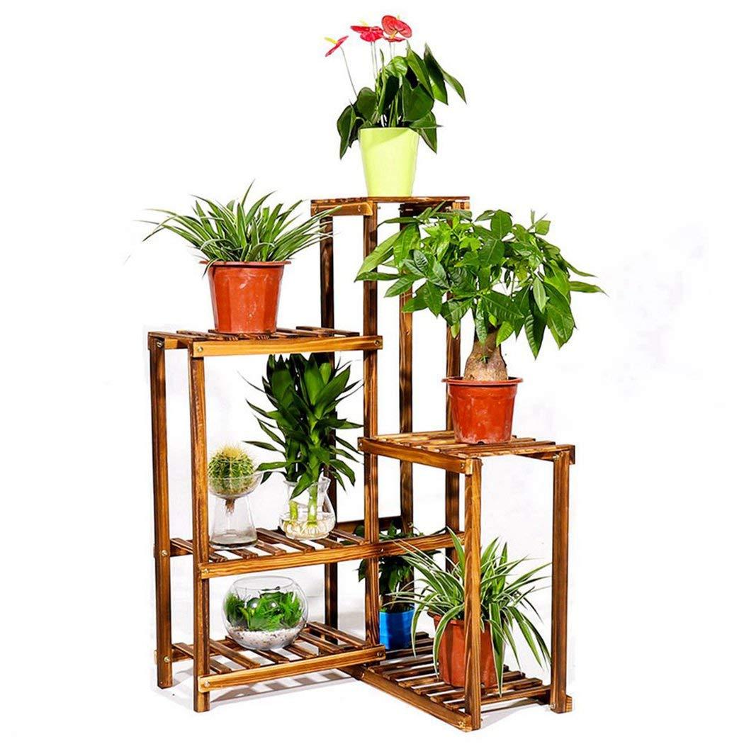 6 Tier Corner Plant Stand Shelf Indoor Wood Flower Pot Rack Patio Planter Shelf Outdoor Bonsai Displaying Shelves for Garden Yard