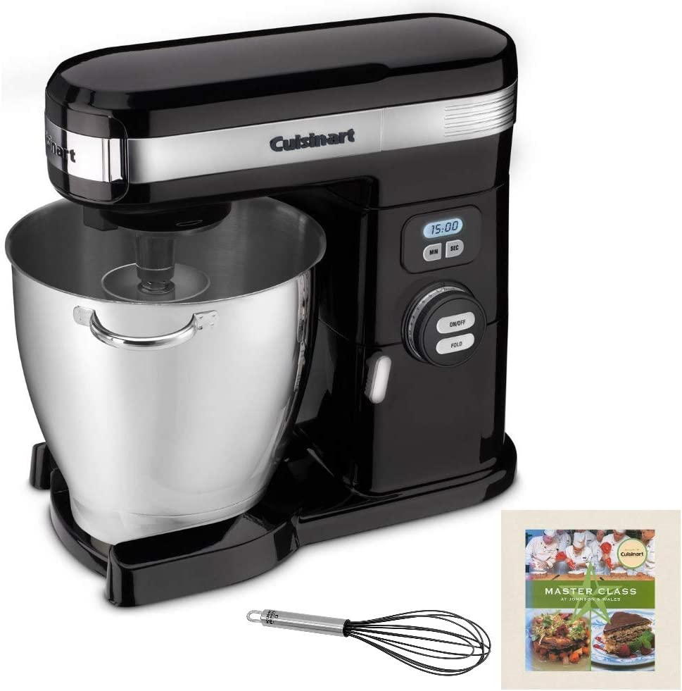 Cuisinart SM-70BK 7-Quart Stand Mixer (Black) Includes Whisk and Cookbook Bundle (Renewed)