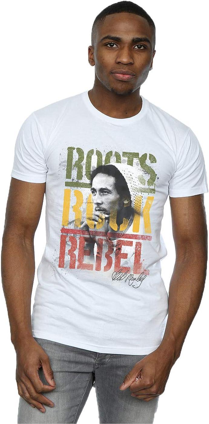 Bob Marley hombre Roots Rock Rebel Camiseta: Amazon.es: Ropa y accesorios