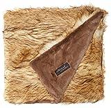 Best Home Fashion Faux Fur Throw - Lounge Blanket - Platinum Frost Fox - 58''W x 60''L - (1 Throw)