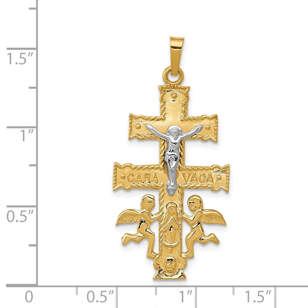 Mia Diamonds 14k Gold Two-tone Cara Vaca Crucifix Pendant