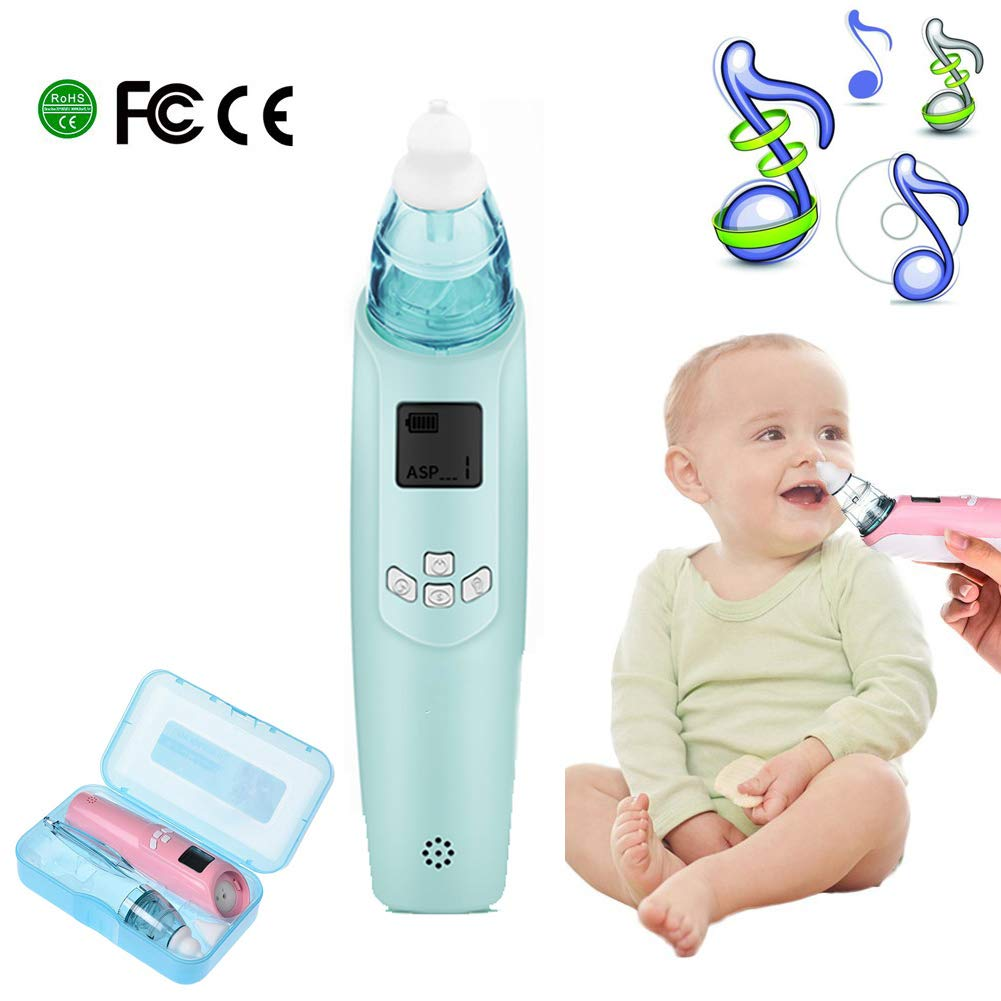 YQZ Electric Nasal Aspirator, Safe Hygienic Nose Cleaner with LCD Screen Music Colorful Light 3 Levels Suction for Newborns and Toddlers,Blue by YQZ