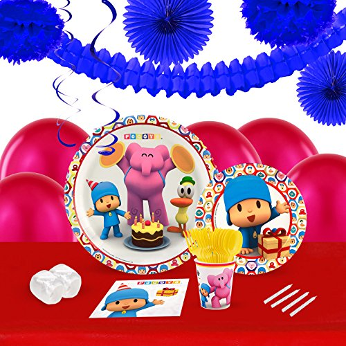 Pocoyo Childrens Birthday Party Supplies - Tableware and Decoration Pack (16) -