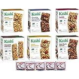 Kashi Variety Pack Granola Bars, Bundle of 6 Boxes (40 Bars) Chocolate Chip Chia, Chocolate Almond Sea Salt, Honey Almond Flax, Peanut Butter, Dark Mocha Almond, Trail Mix + Hand Wipes