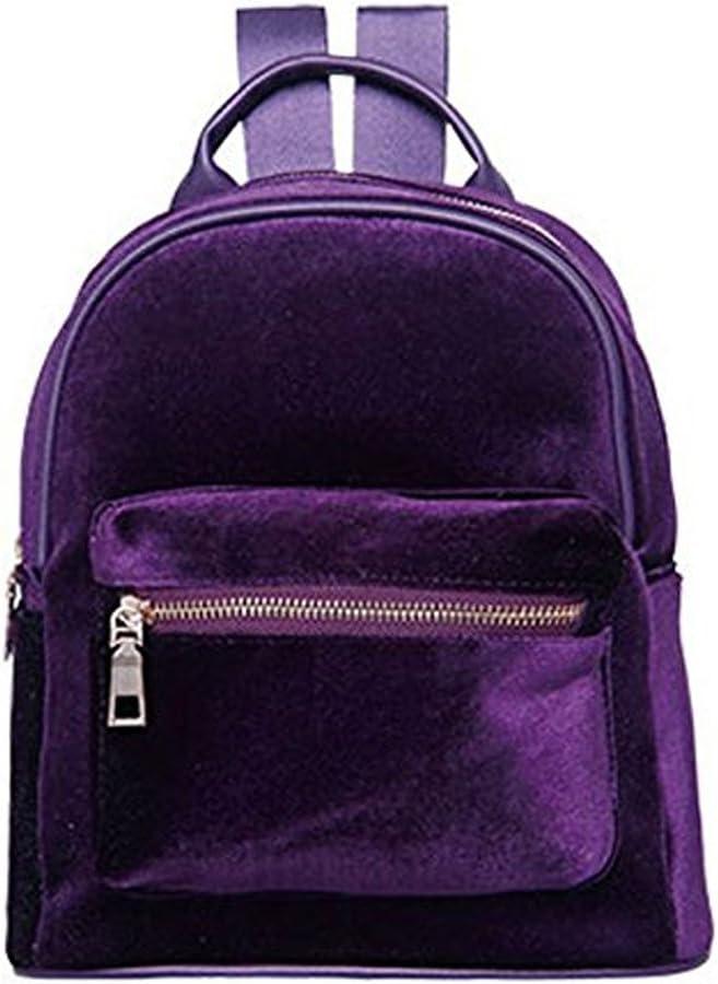 Donalworld Girl Velvet Backpack Cute Casual Zipper Solid Bags S Purple