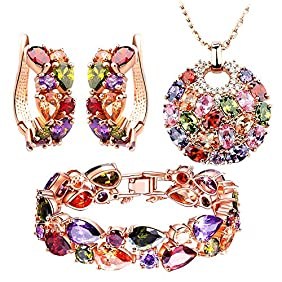 SILYHEART Multicolor Zircon Pendant Necklace Bracelet Earrings Fashion Bridal Jewelry Set