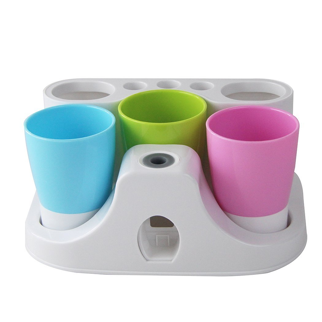 YIUHART Toothbrush Holders Hands Free Toothpaste Dispenser Automatic Toothpaste Squeezer and Toothbrush Toothpaste Holder and Mug Stand Organizer Set with 3 Cups Suction Cups YH 6622749