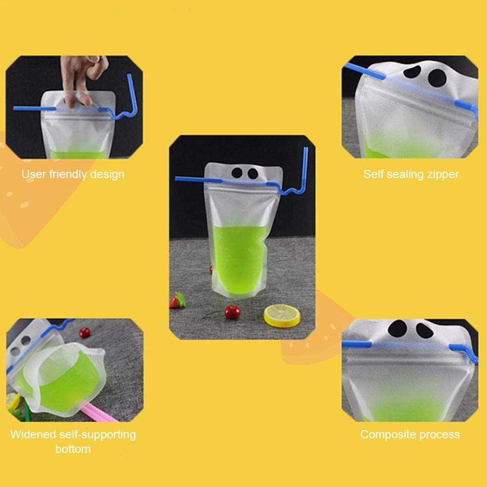 Ardorman 50pcs Drinking Pouch,Disposable Drink Container Set With Zipper,Drink Pouches Heavy Duty Hand-Held Translucent Pouches Bag For Cold Hot Drinks