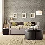 Inspire Q Deco Gray Linen Daybed with Trundle