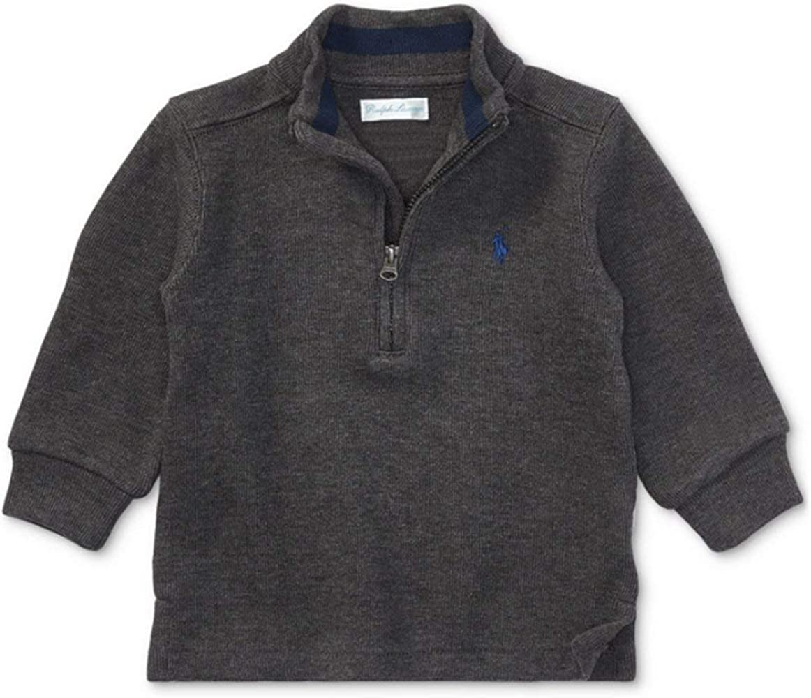 RALPH LAUREN Baby Boys Half Zip French Rib Sweater Size 18 Months Windsor Heather