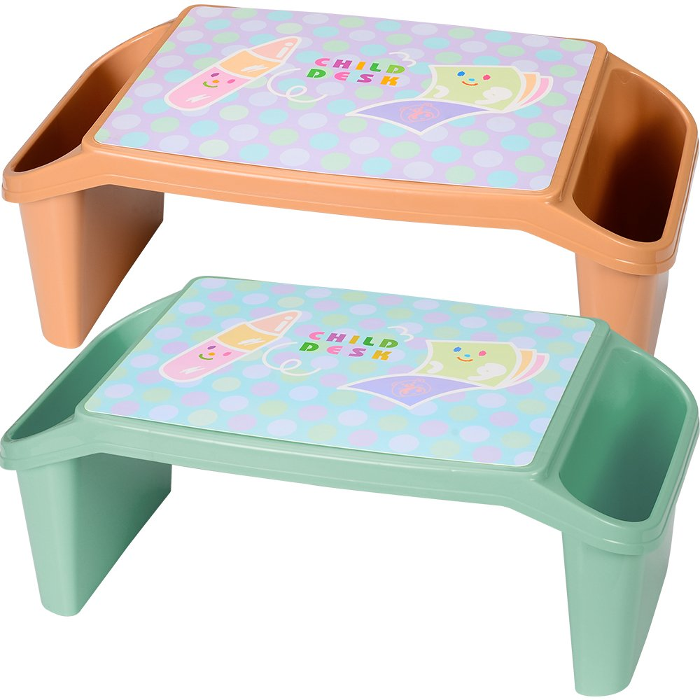 NNEWVANTE Lap Desk for Kids with Storage (Pack of 2) Portable Children's Activity Table for Homework, Reading, Writing, Drawing or Breakfast Bed Tray Child Art Plastic Stackable Table, Brown&Green