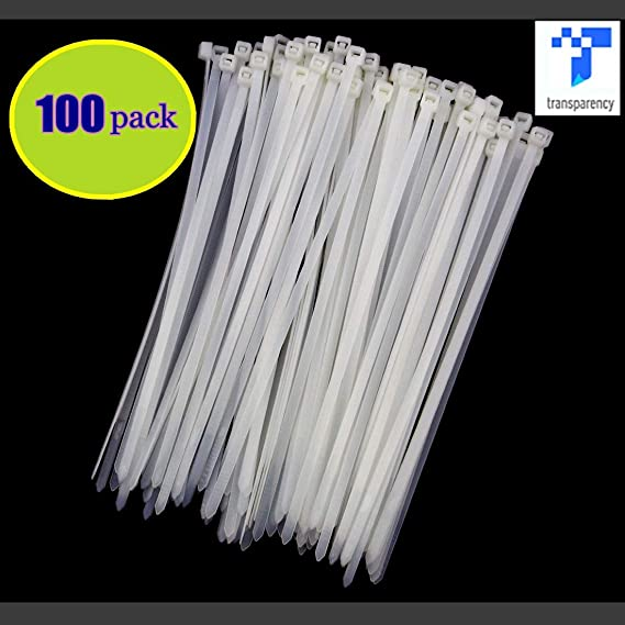 Heavy Duty con autobloqueo Nylon Cable Ties Ultra fuerte cable ties de alambre pl/ástico Zip Bridas resistentes a los rayos UV color blanco paquete de 100/abrazaderas de alambre para el hogar//oficina//garaje//taller