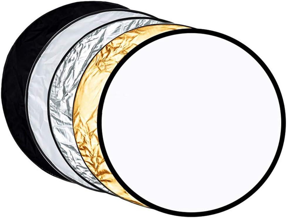 Plateado BDDFOTO 110cm Reflector de Luz Multi-Disco Plegable 5 en 1 con Bolsa Transl/úcido Dorado Blanco y Negro para Fotograf/ía de Estudio Iluminaci/ón e Iluminaci/ón Exterior