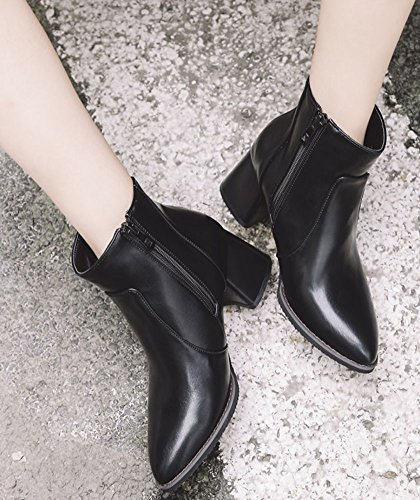 Easemax Women's Chic Pointy Toe Mid Block Heeled Short Ankle High Boots With Side Zipper Black RSSee