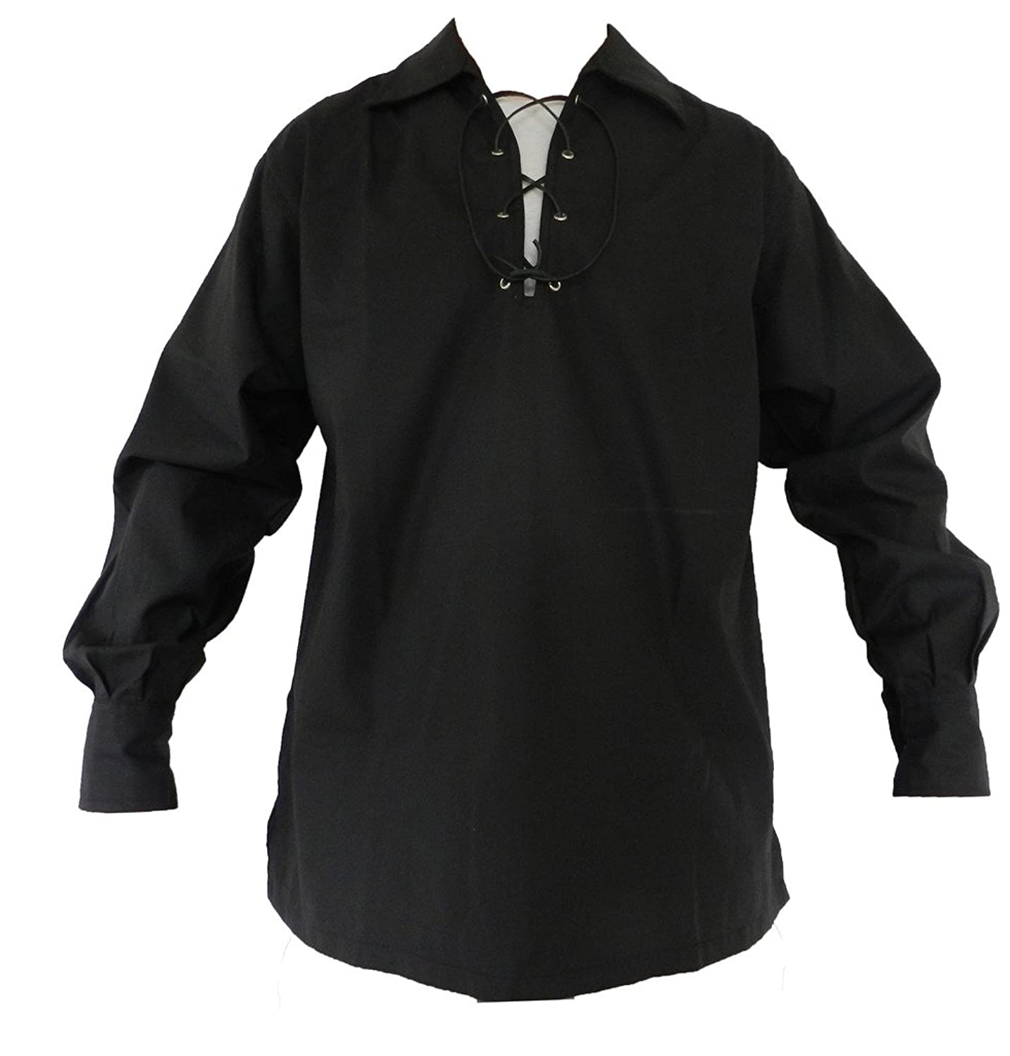 black lace up pirate costume shirt
