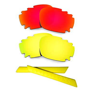 HKUCO 24K Gold/Green Polarized Replacement Lenses plus Yellow Earsocks Rubber Kit For Oakley Jawbone Vented 2uITfJ3i