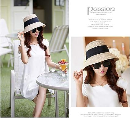 Muziwenju Sombrero, Sombrero de Paja Femenino Coreano de Verano ...