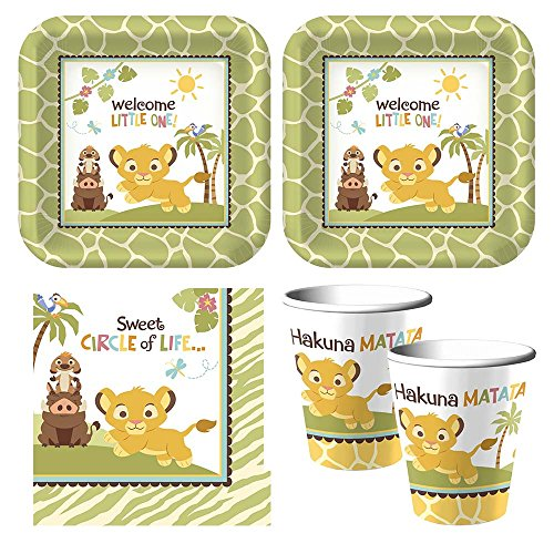 Baby Lion King 'Sweet Circle of Life' baby shower Party Supplies - Plates, Napkins, cups - serves 16 by Hallmark