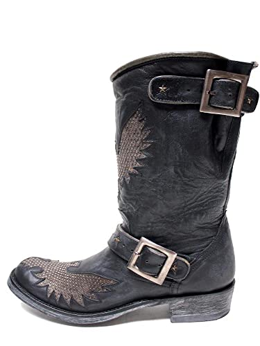 Biker Iron Eagle Black Womens Boots L1357-3